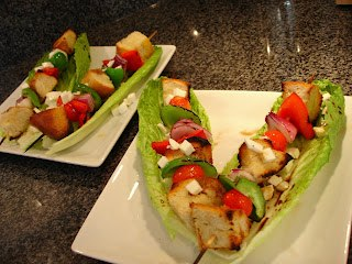 Salad Skewer ona Romaine Boat