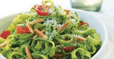 Spinach Fettuccine with Trapanses Pesto