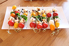 Caprese Salad with Crostini Bread (Fresh Mozzarella, Cherry Tomatoes with Pesto) $29