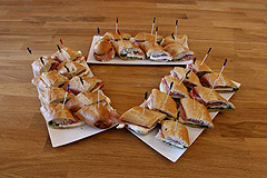 Proscuitto and Mozzarella Cheese with Pesto sauce Mini Sandwiches $35