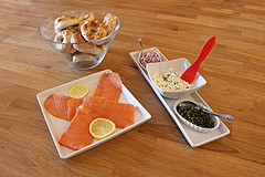 Smoked Salmon with Capers and Chopped Onions. Served with Mini Crostini bread $45